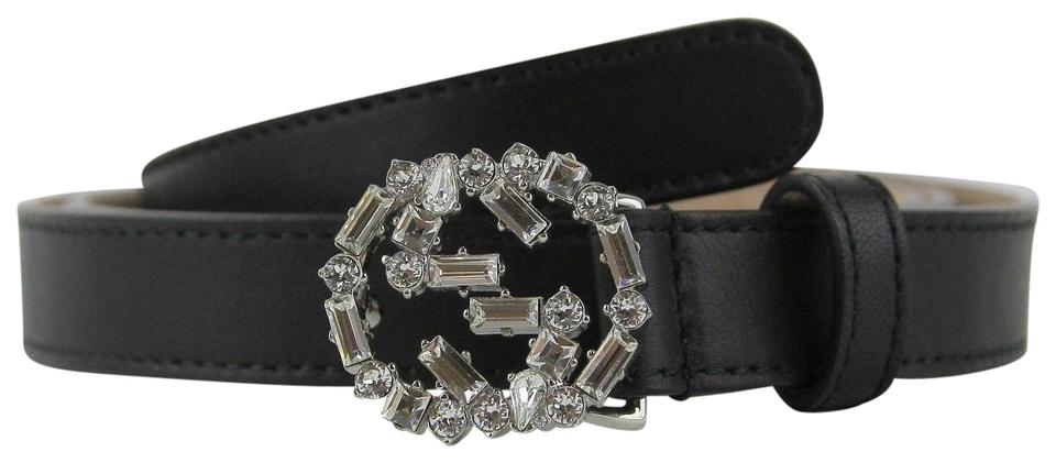 2ee97c0f839 Gucci Women s Black Leather Skinny Belt w crystal Buckle 105 42 354380 1000  Image ...