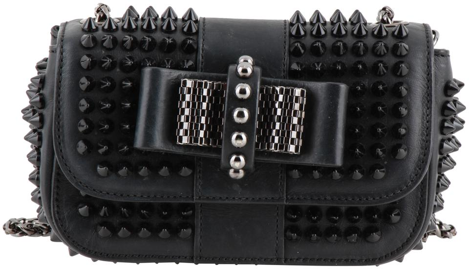 08573068ff Christian Louboutin Sweet Charity Small Spiked Black Calfskin Leather Cross  Body Bag