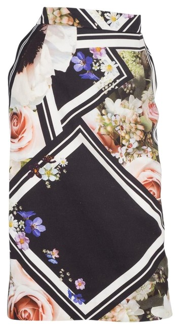 Item - Floral White and Striped Large Skirt Size 12 (L, 32, 33)