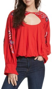 Free People Embroidered Cut-out Longsleeve Bohemian Cotton Sweater