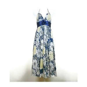 Max and Cleo short dress blue, beige Floral Silk Halter on Tradesy