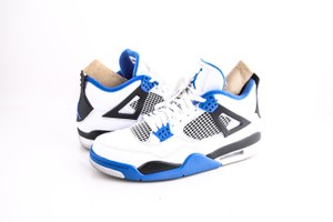 Nike * White/Game Royal-black/Blacnk/Noir/Jeu Royal Air Jordan 4 Retro Shoes