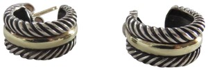 David Yurman Cable Classics SS/14k Smooth/Twisted Cable Open Hoops