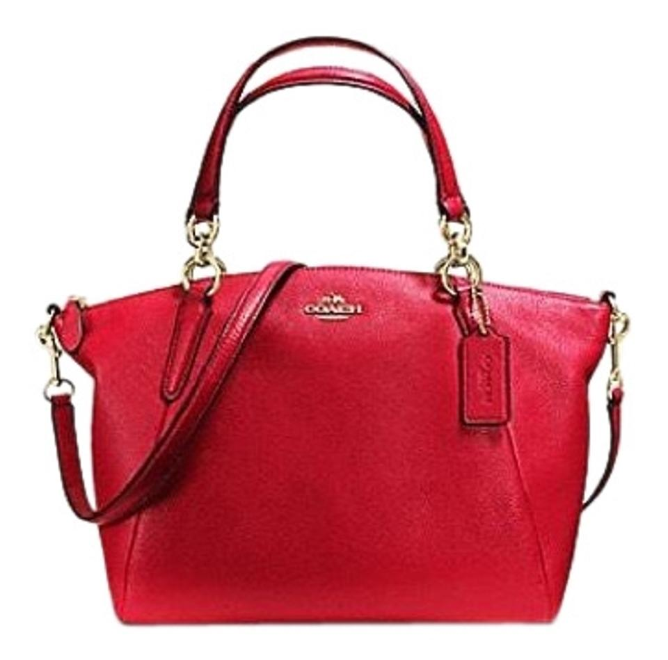 935009a0d171a Coach Kelsey Small Light Gold / True Red Pebble Leather Satchel ...