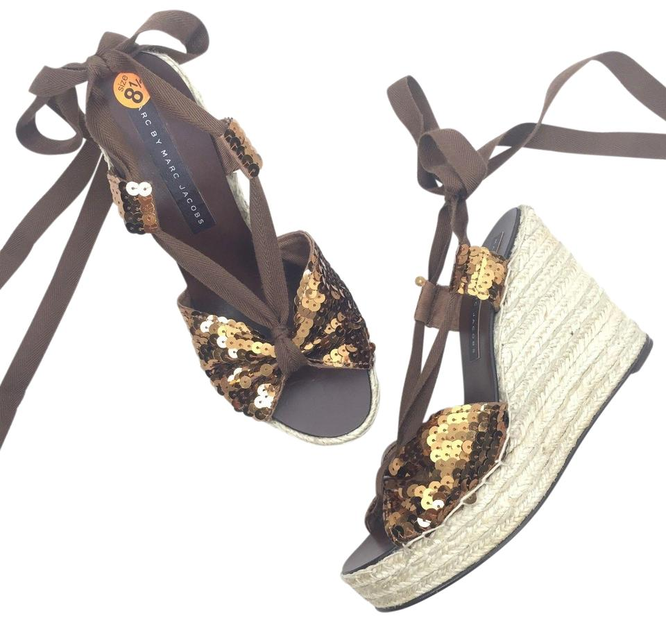 09a987b14e6 Marc by Marc Jacobs Brown Sequins Ankle Tie Espadrille Wedges Size ...