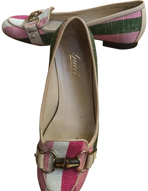 """Item - Buttercream Pink & Green """"Chic"""" Leather Trim Bamboo Accent Loafers Flats Size US 6 Regular (M, B)"""