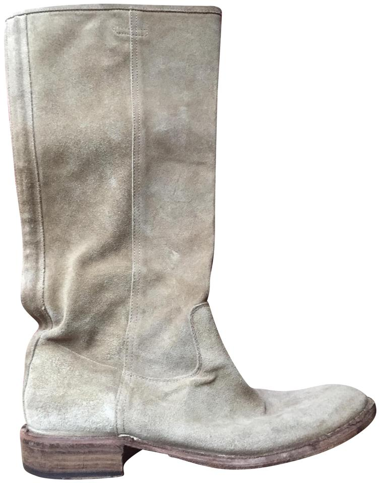 b72f96445 Fiorentini + Baker Suede Pull-on Kneehigh Leather Soles Taupe Boots Image 0  ...
