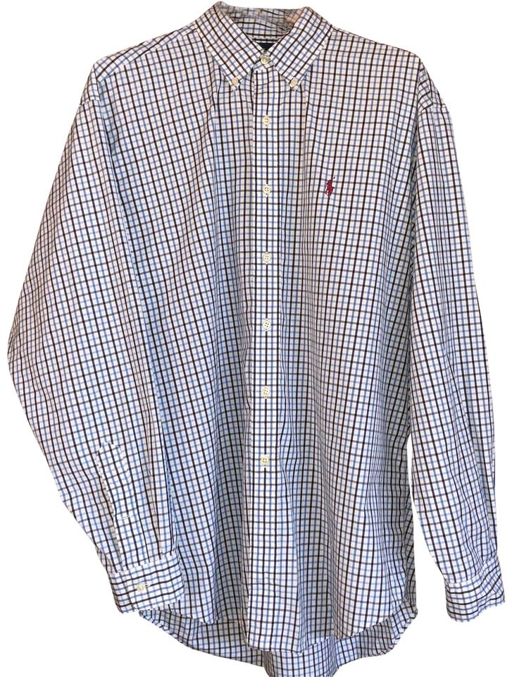 35f8a2d687e Polo Ralph Lauren Blue Men s Classic Fit Long Sleeve Plaid Oxford Shirt  Button-down Top