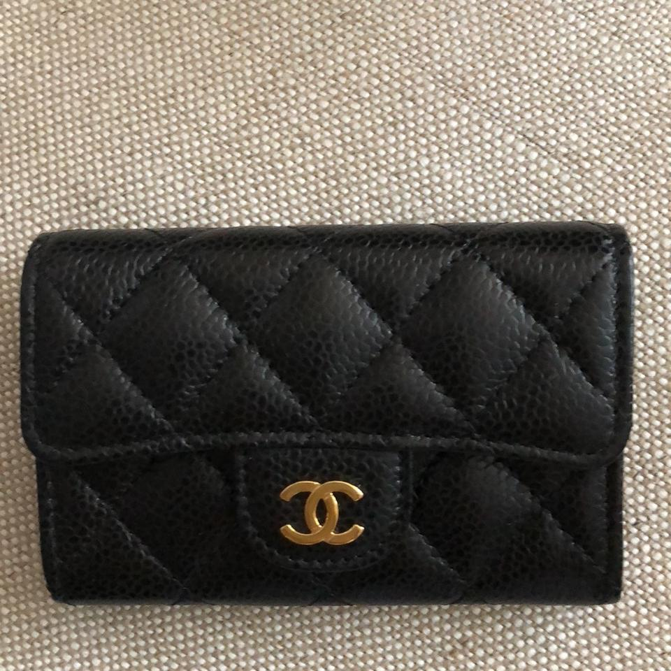 265f3a1cce84 Chanel Black Classic Flap Card Holder Case Caviar with Gold Hardware Wallet  Image 11. 123456789101112