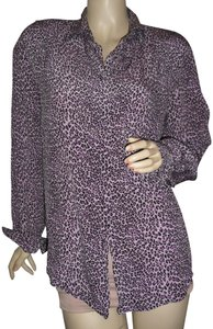 Allison Taylor Button Down Shirt purple,black,cheetah,pure silk