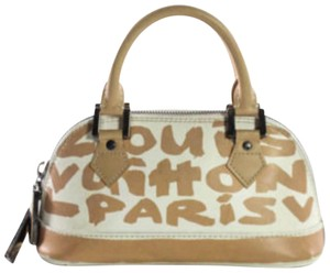 Louis Vuitton Stephen Sprouse Graffti Limited Edition Kusama Kabuki Satchel in Beige