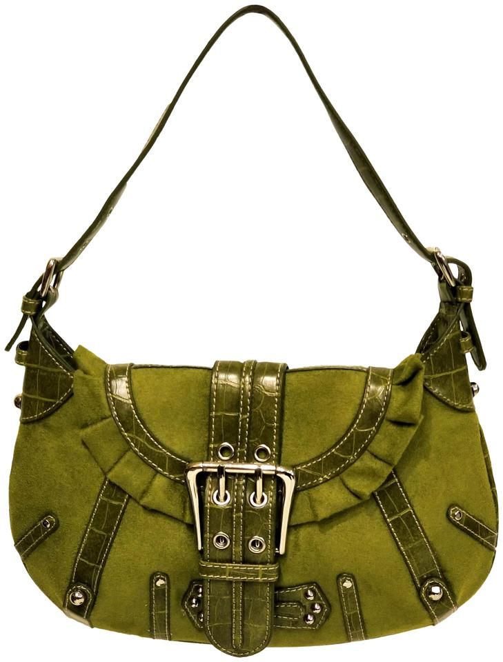 4c4acd520ce4 Other Suede Leather Studded Green Shoulder Bag ...