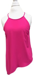 Naked Zebra Braided Halter Silver Zipper Top Hot Pink