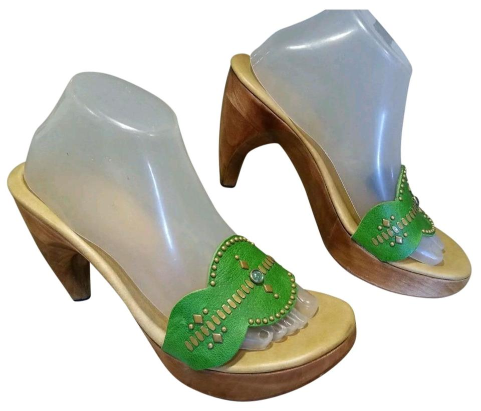 Calleen Cordero Green Slides M. Leather Color Color Color with Studs Sandals 03c944