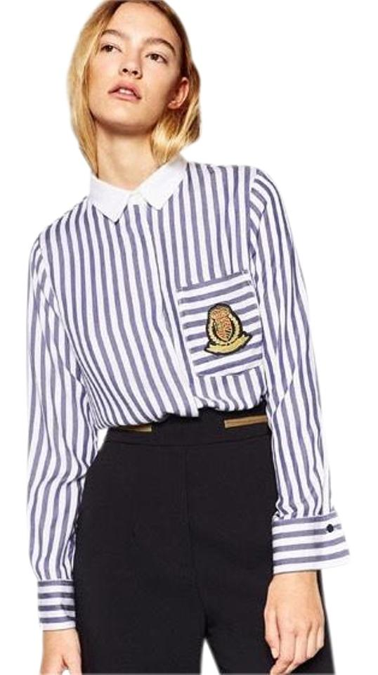 a5fe9b7568 Zara Striped Shirt with Patch Button-down Top Size 4 (S) - Tradesy
