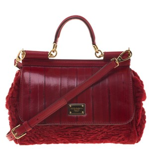 Dolce&Gabbana Dolce And Gabbana Miss Sicily Leather Fur Satchel in Red