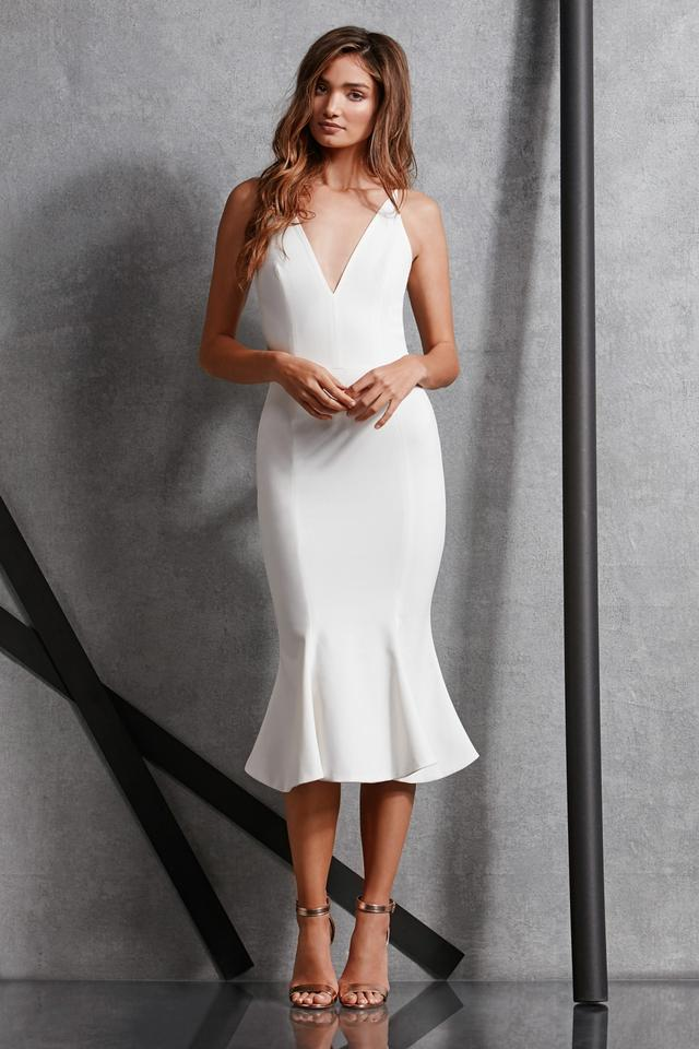 Dress The Potion Off White 95 Polyester 5 Spandex Isabelle Mermaid Midi Modern Wedding