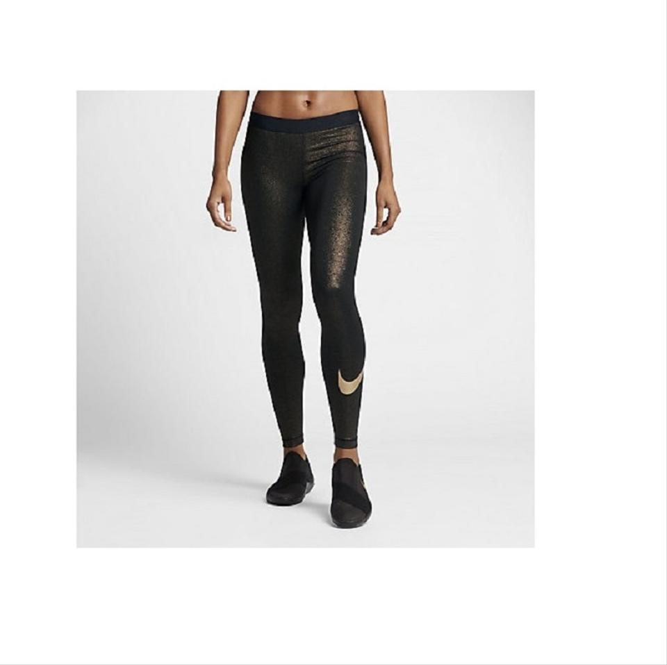 479cbdcbc18a9 Nike Black/Gold Womens Pro Cool Metallic Yoga Training Xs Activewear Bottoms