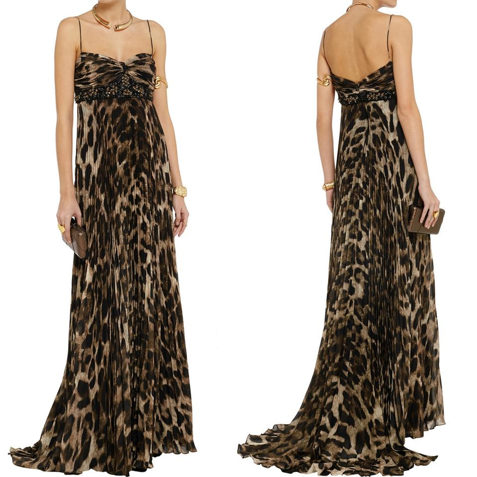 Badgley Mischka Collection Embellished Leopard Print Gown Long