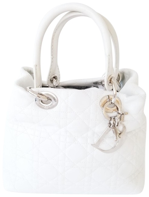 Item - Lady Cannage Quilted Soft White Lambskin Leather Tote