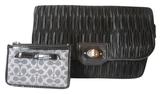 Coach Satin Convertible Evening Evening Convertible Poppy Metallic Outline Skinny Id Style 50322 Black Clutch