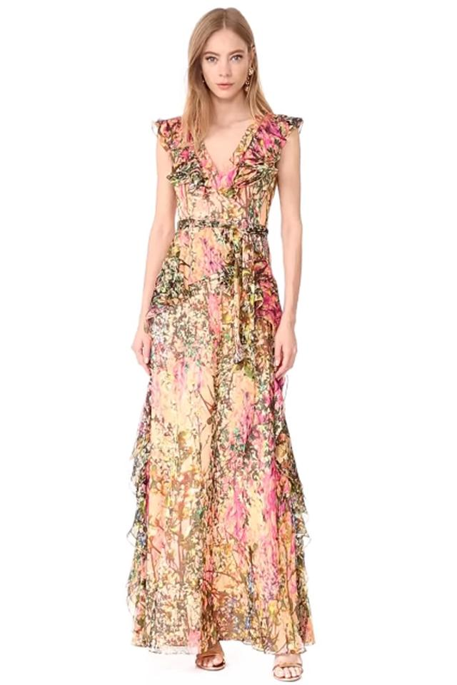 Badgley Mischka Collection Silk V-neck Ruffle Printed Gown 0 Long ...