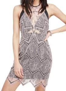 Free People Halter Low Strappy Back Built In Slip Lacy + Layered Super Sexy Dress