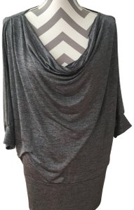 Cato Dolman Sleeves Draped Neckline Threading Size Large Top Gray Silver