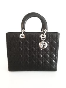Dior Leather Handbag Cannage Tote in Black