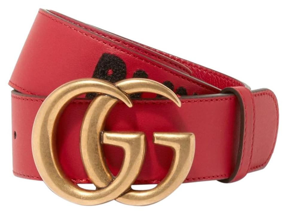 89a8987b242 Gucci Blind For Love Embroidered Double G Buckle Leather Belt Size 90 Image  0 ...