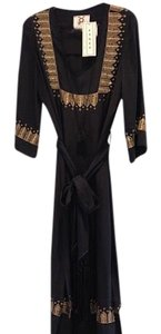 black with gold trim Maxi Dress by Figue