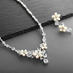 Silver Fresh Water Pearls Crytals Jewelry Set