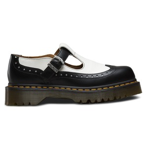 Dr. Martens Leather Brogue Black and White Sandals