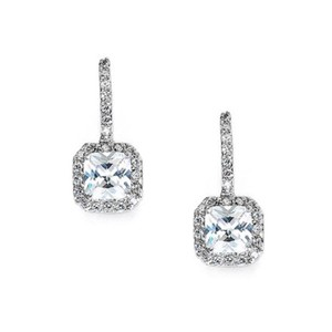 Silver/Rhodium Radiant Cut Crystal Drop Earrings