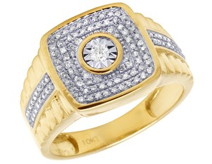 Jewelry Unlimited Men's 10K Yellow Gold Real Diamond Square Step Shank Ring 1/2 CT 14MM