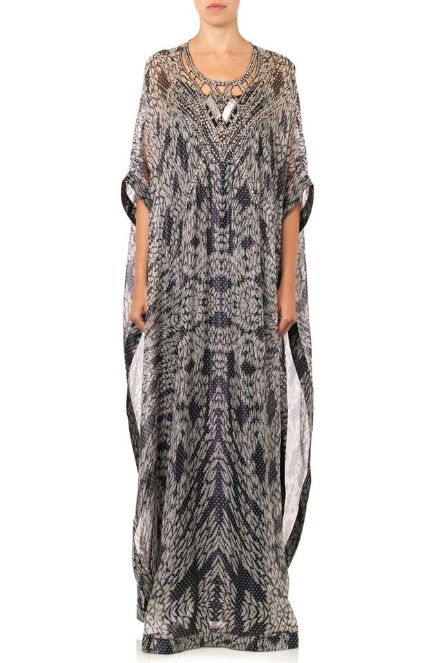 d7aa39a7d Diane von Furstenberg Clare Embellished Kaftan Panther Black Small Long  Casual Maxi Dress Size 6 (S) - Tradesy