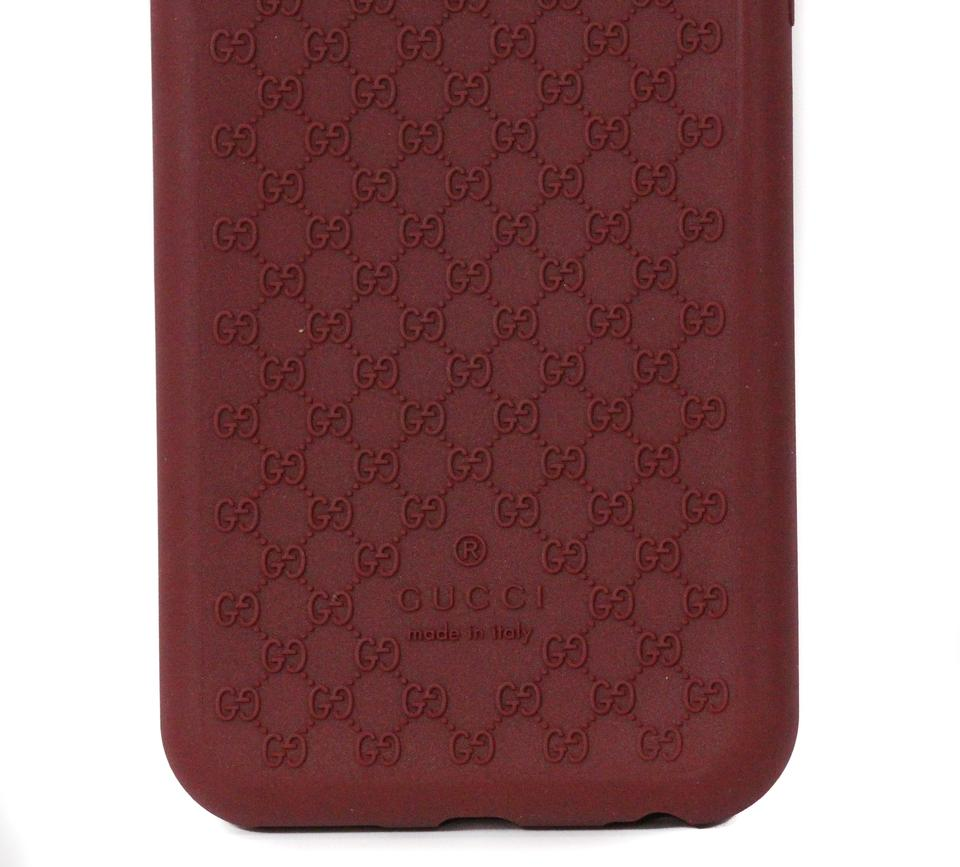 free shipping 91484 a4bf5 Gucci Red 399029 Gg Microguccissim Iphone 6 Rubber Cover Tech Accessory 64%  off retail