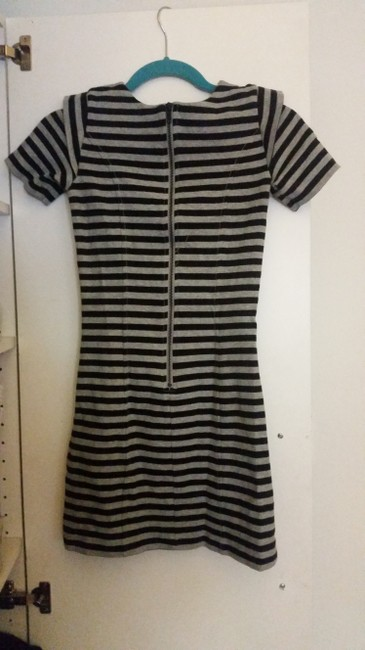 French Connection short dress Black and Grey Striped Exposed-zipper on Tradesy
