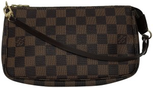 Louis Vuitton Lv Pochette Pochette Canvas Wristlet in Damier Ebene