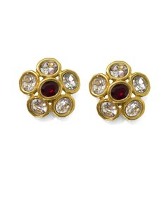 Chanel Chanel Vintage '89 Red & White Crystal Clip On Earrings