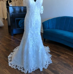 Maggie Sottero Antique Ivory Lace Rebecca Ingram Brenda Formal Wedding Dress Size 12 (L)