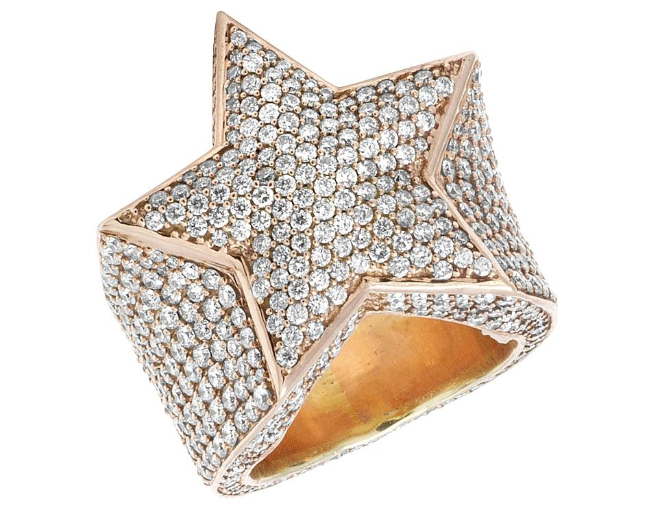 Unique Jewelry Unlimited 10k Rose Gold Men's Real Diamond Super Star 10  XT24