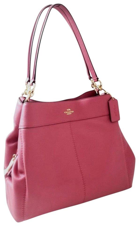 966cabc17dfc Coach Lexy New Classy Pebbled Gold Ring Shoulder Rouge Pink Leather ...