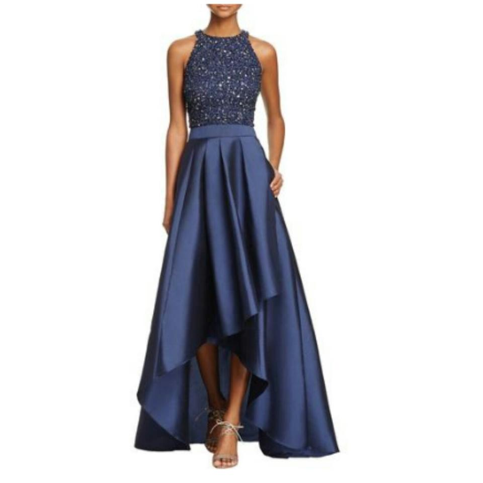 Adrianna Papell Blue Sequin-bodice Two-piece Ball Gown Long Formal ...
