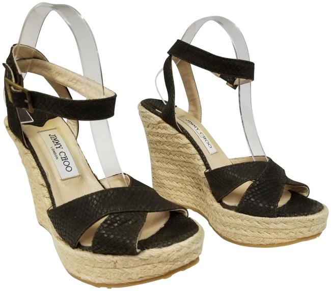 Item - Brown Phoenix Embossed Leather Ankle Strap Espadrilles - Wedges Size EU 40 (Approx. US 10) Regular (M, B)