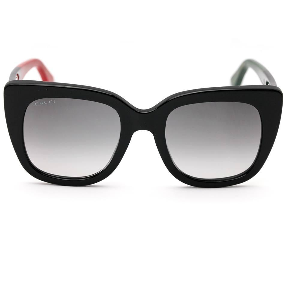 0ae18b7cdf Gucci Gucci 0163S Sunglasses Black Cat Eye Frame with Grey Gradient Lens  Image 0 ...