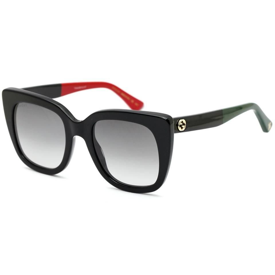 0d36a66748 Gucci Black Green and Red 0163s Cat Eye Frame with Grey Gradient Lens  Sunglasses - Tradesy