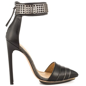 L.A.M.B. Silver Hardware Leather Pointed Toe Stiletto Ankle Strap Black Pumps