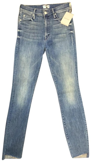 Item - Blue Distressed Stunner Zip Ankle Strep Fray Skinny Jeans Size 4 (S, 27)