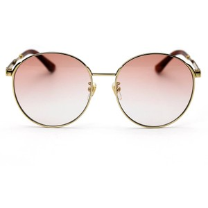 2a73aec961c Gucci Gold and Orange 0206sk Unisex Round Frame with Lens Sunglasses ...
